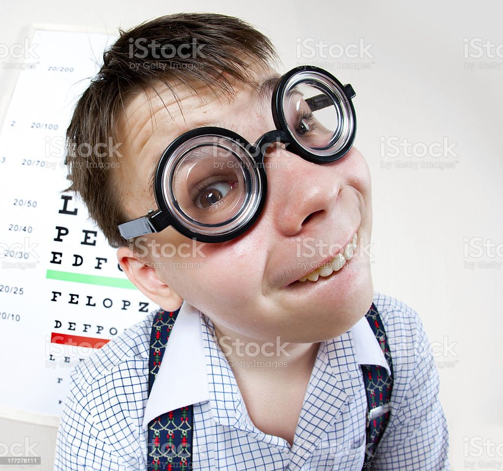 person wearing spectacles in an office at the doctor royalty-free stock photo