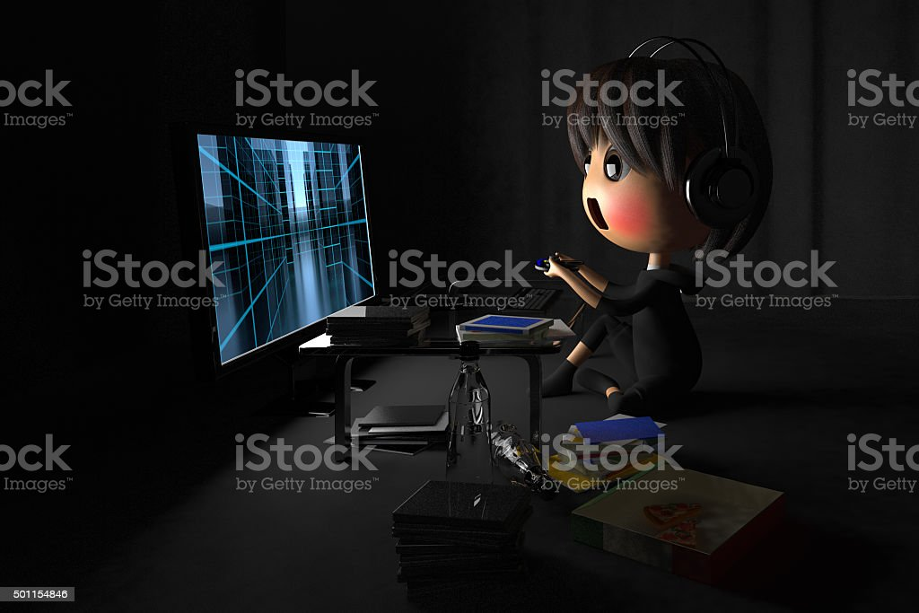 Person who is blush playing a game in dark room stock photo