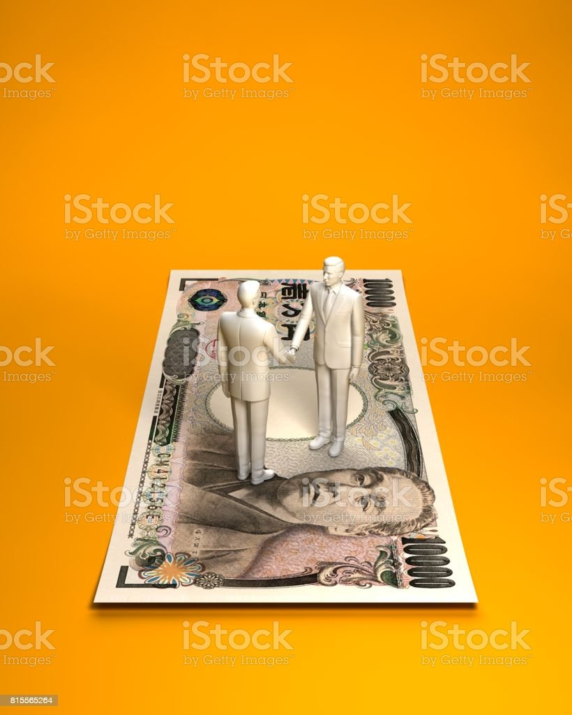 Person who shakes hands on Japanese notes stock photo
