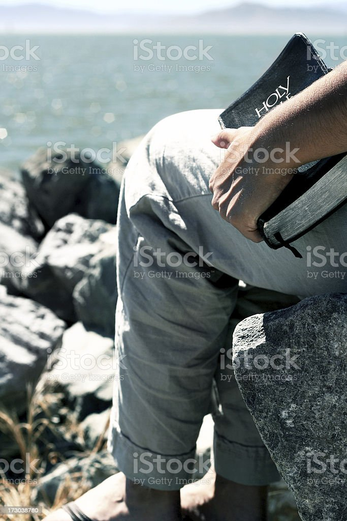Person with a Bible stock photo