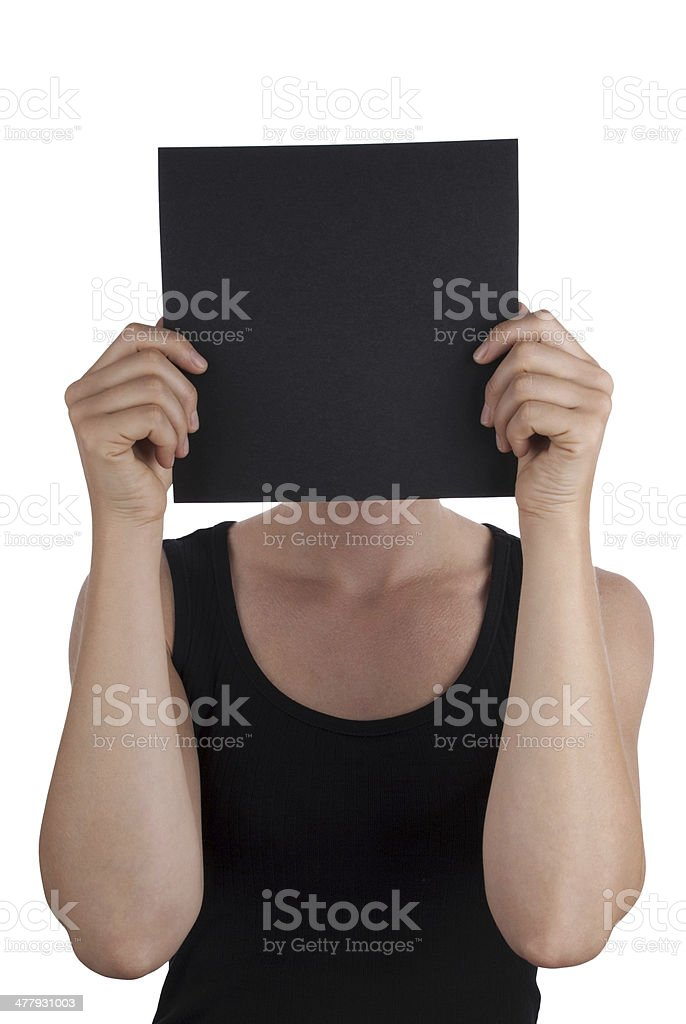 Person with a Black Square stock photo