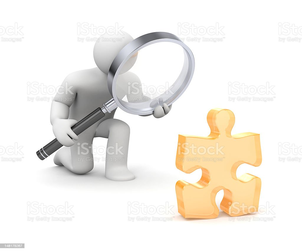 3-D person with a magnifying glass examining a puzzle piece royalty-free stock photo