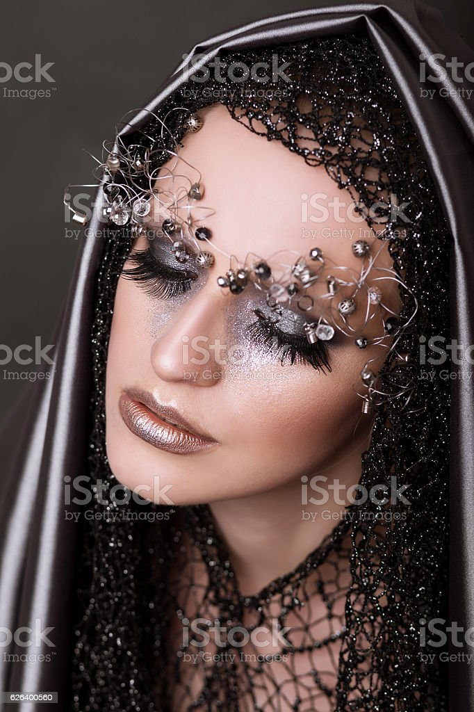person with an unusual make-up and glamorous stock photo