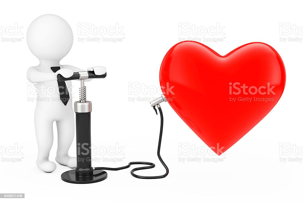 Person with Black Hand Air Pump inflates Red Heart Balloon stock photo