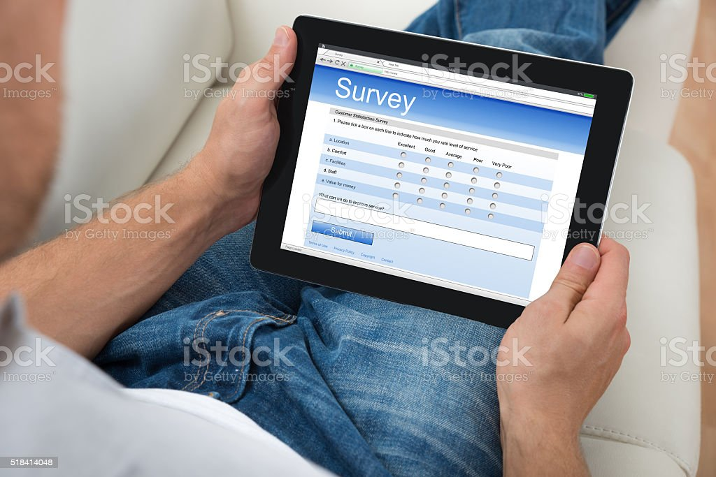 Person With Digital Tablet Showing Survey Form stock photo