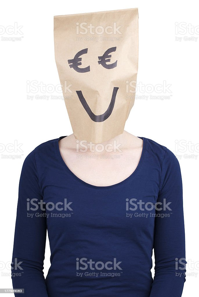 person with euro paper bag head stock photo