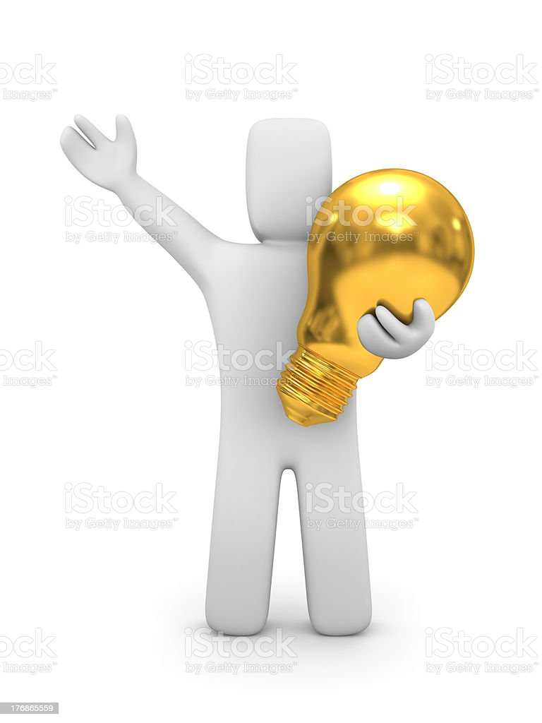 Person with gold lightbulb royalty-free stock photo