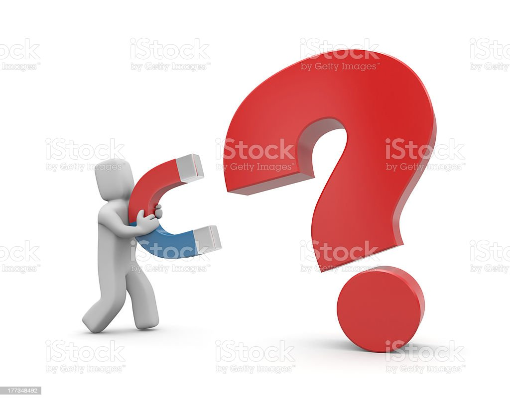 Person with magnet. Magnet for question royalty-free stock photo