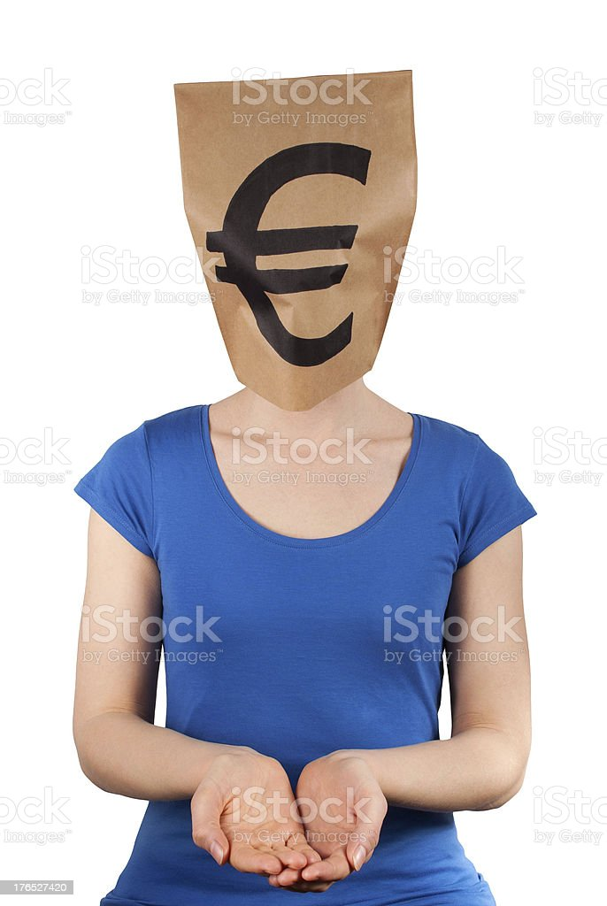 person with moneyhead stock photo