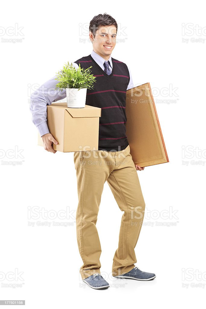 Person with moving box and other stuff royalty-free stock photo