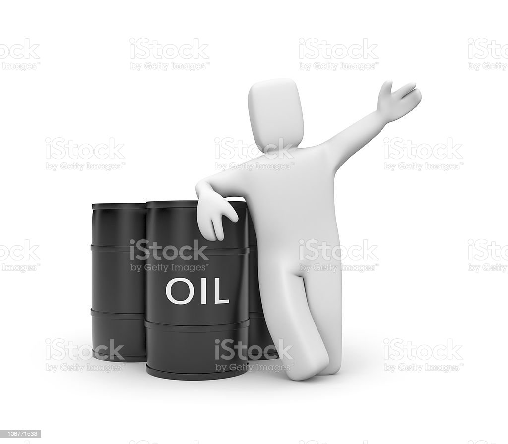 Person with oil barrels royalty-free stock photo