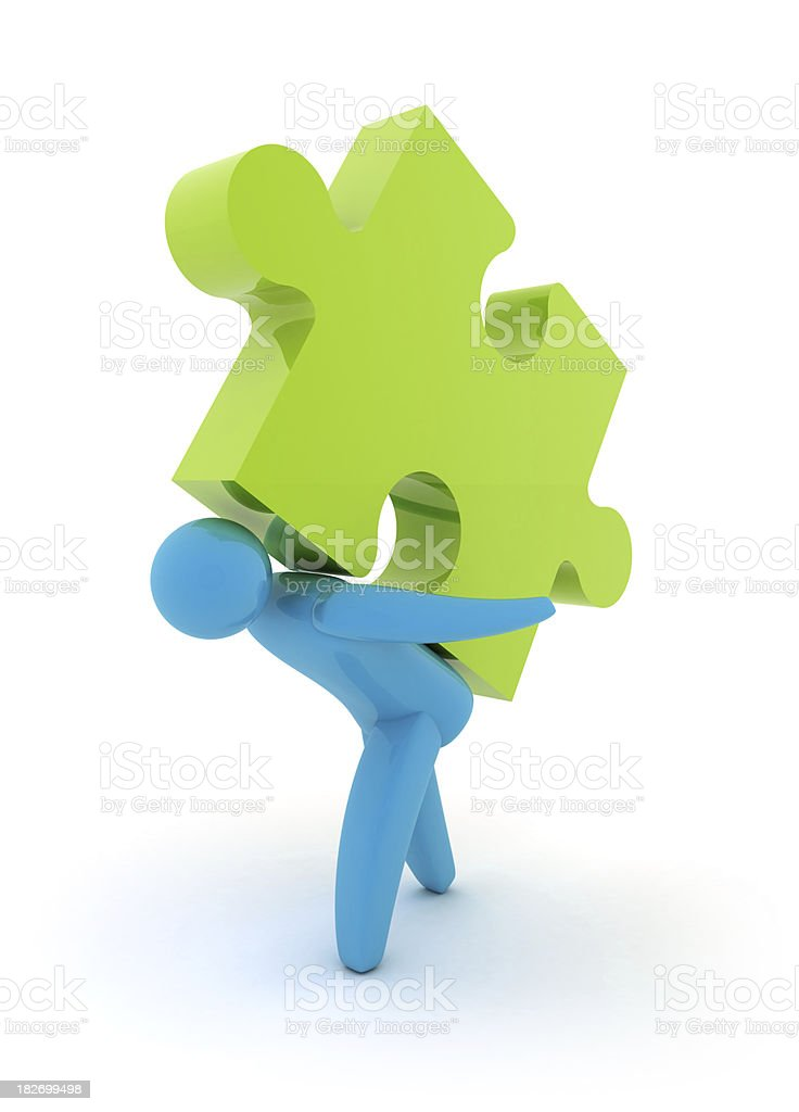 person with puzzle royalty-free stock photo