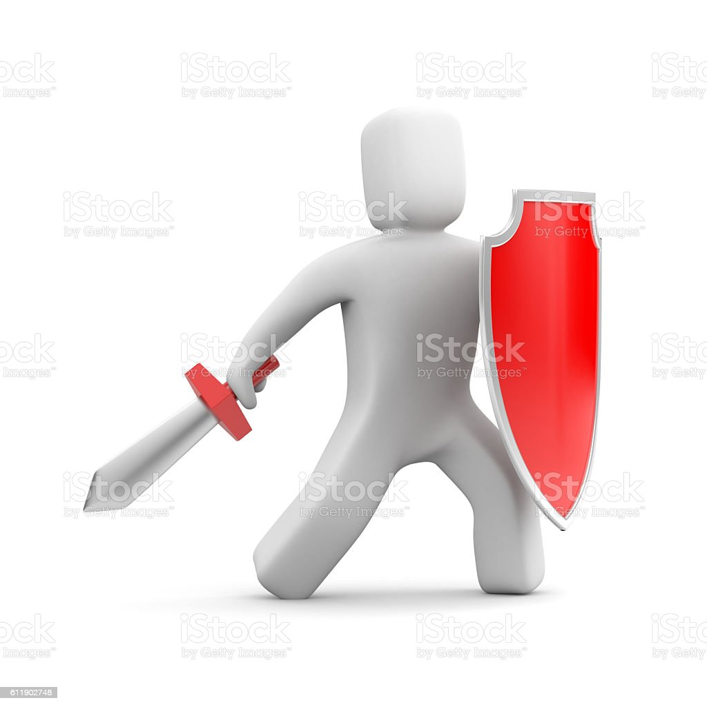 Person with shield and sword - warrior stock photo