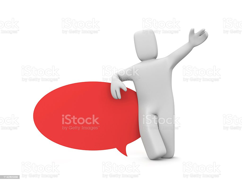 Person with speech bubble royalty-free stock photo