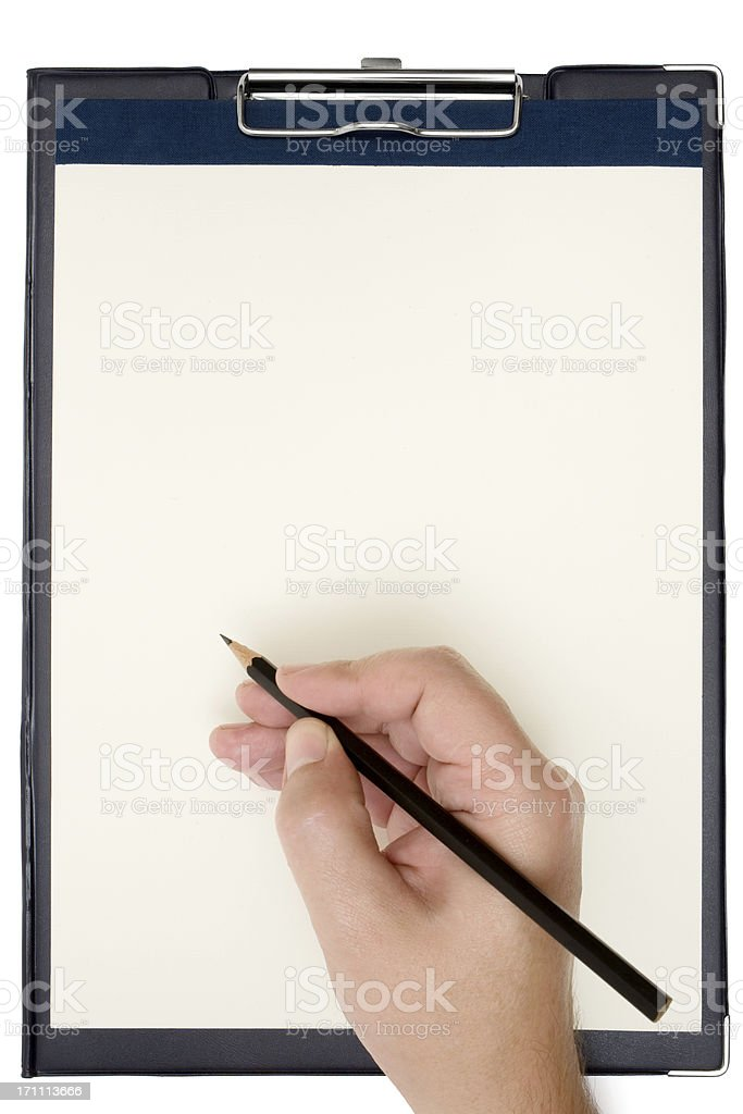 Person Writes on a Clipboard royalty-free stock photo