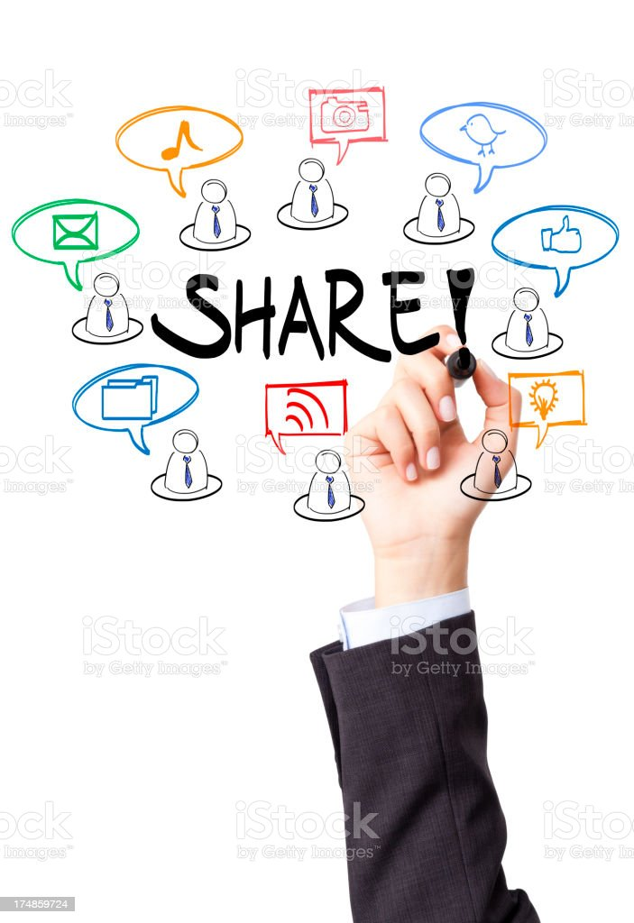 A person writing Share! on the screen with colorful icons royalty-free stock photo