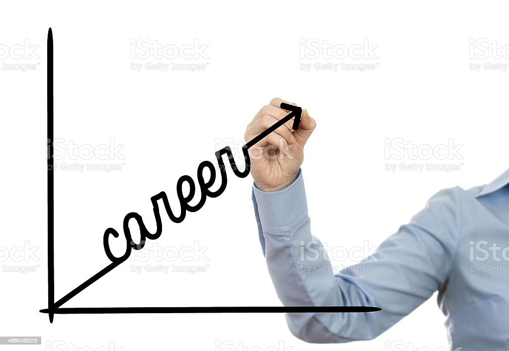 Person writing the word career facing upwards on a graph stock photo