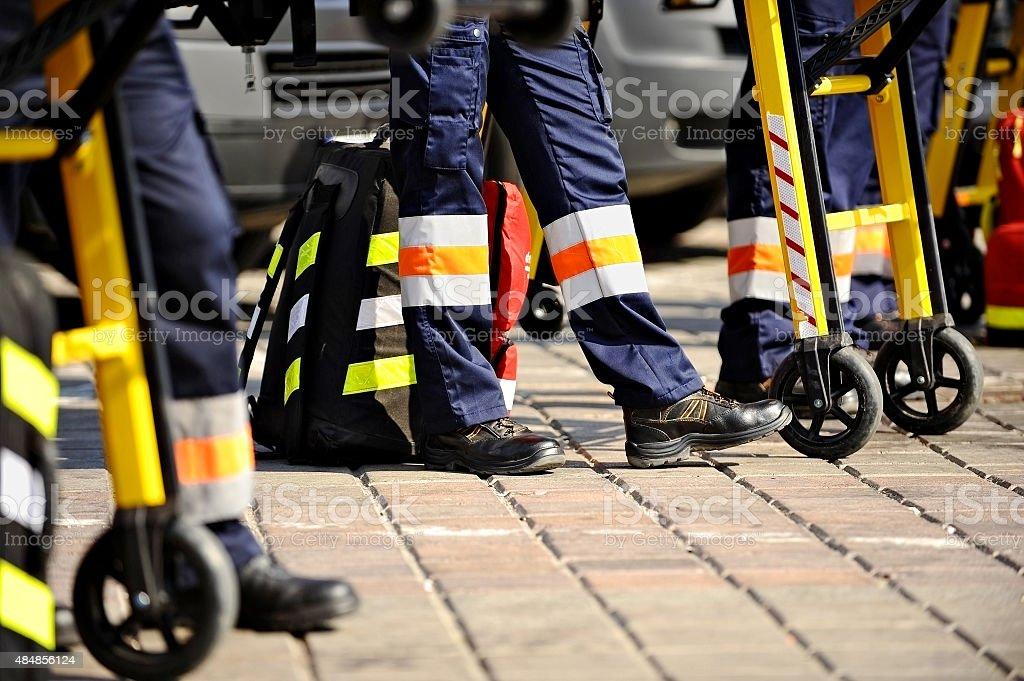 Ambulance personnel stock photo