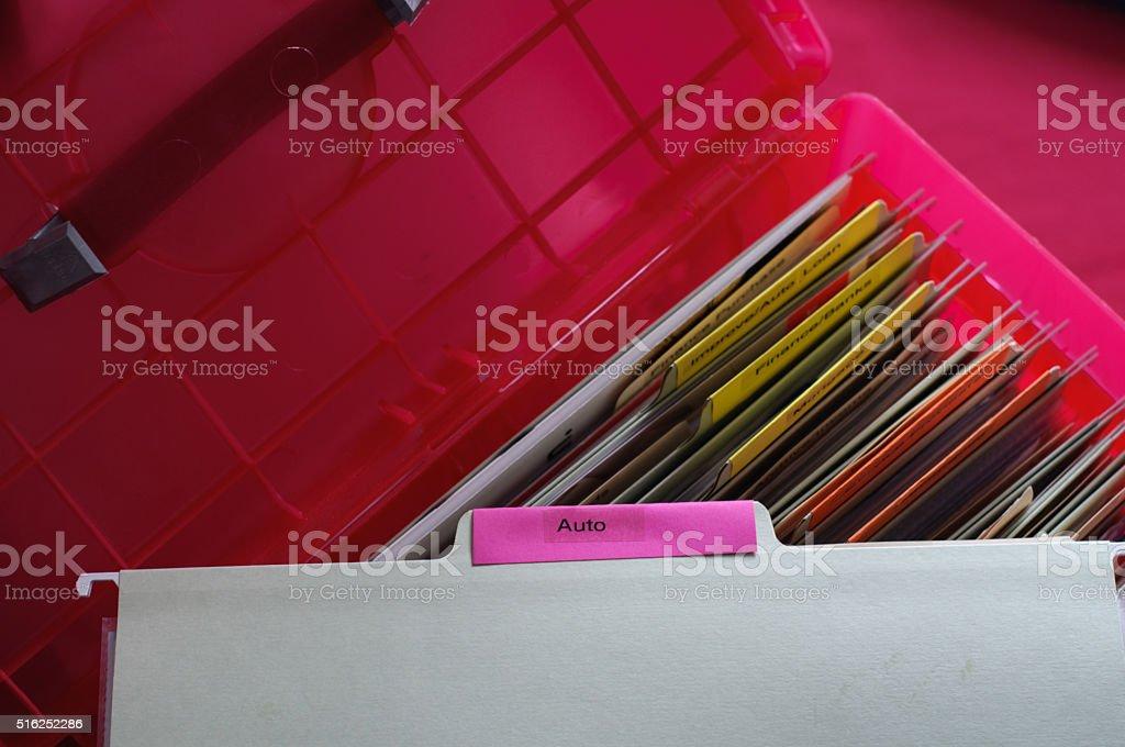 Personal Auto Documents stock photo