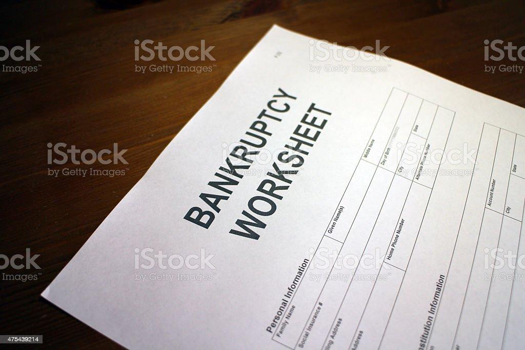 Printables Bankruptcy Worksheet personal bankruptcy worksheet stock photo 475439214 istock royalty free photo
