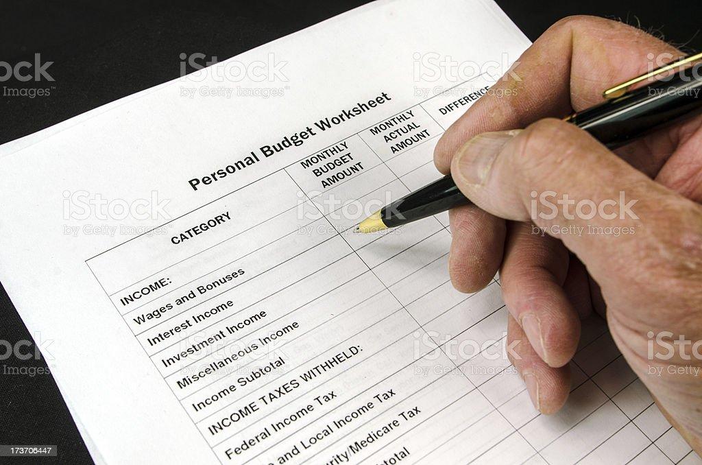 Personal Budget Sheet stock photo