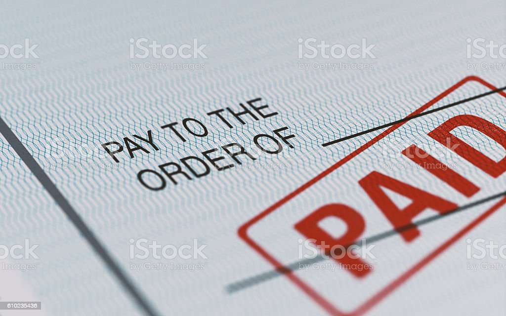 Personal Check With Selective Focus stock photo