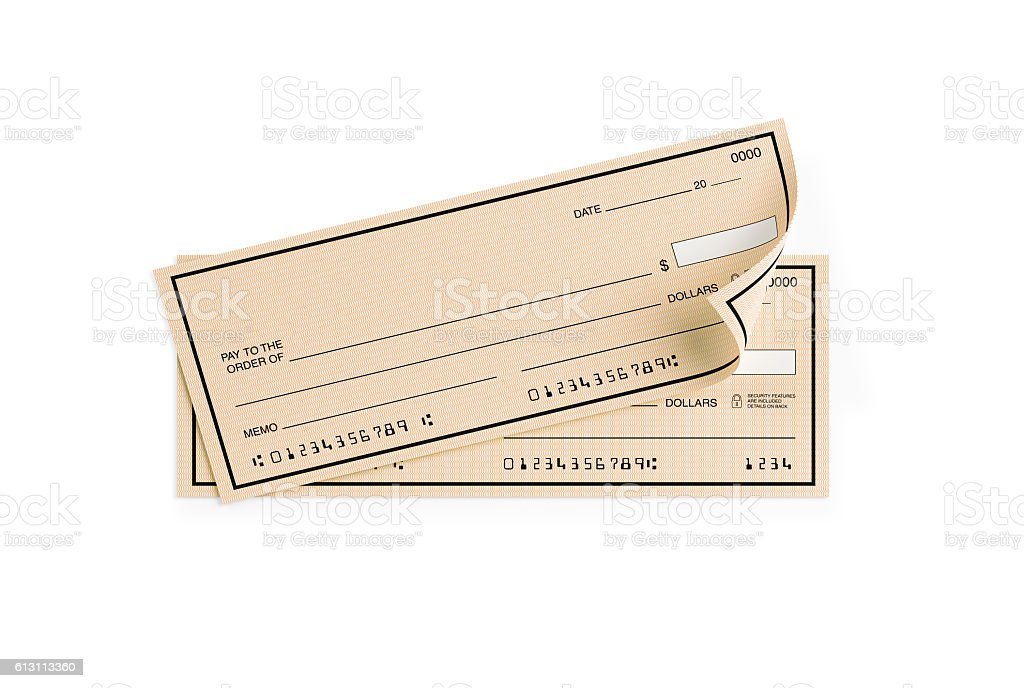 Personal Checks with Altered Numbers Isolated on White stock photo