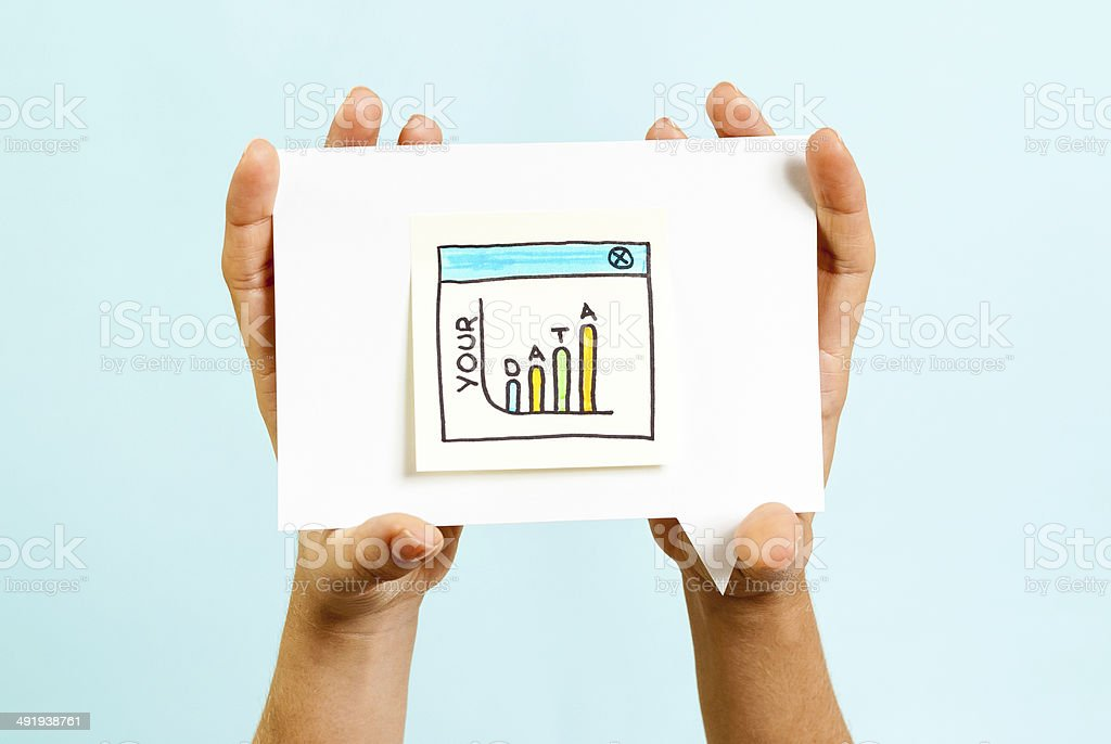 Personal data on the hands concept stock photo