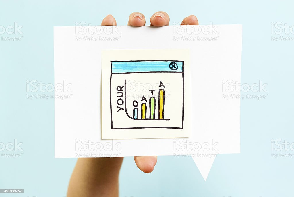 Personal data worth concept on blue background stock photo