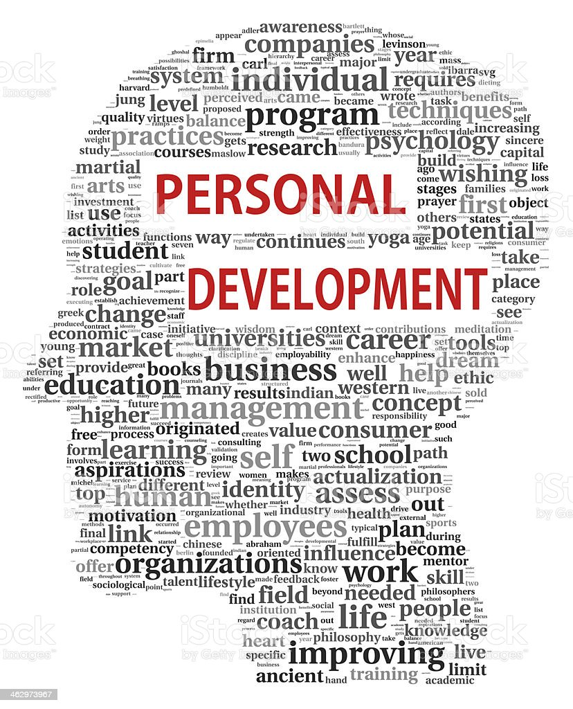 Personal development in tag cloud stock photo