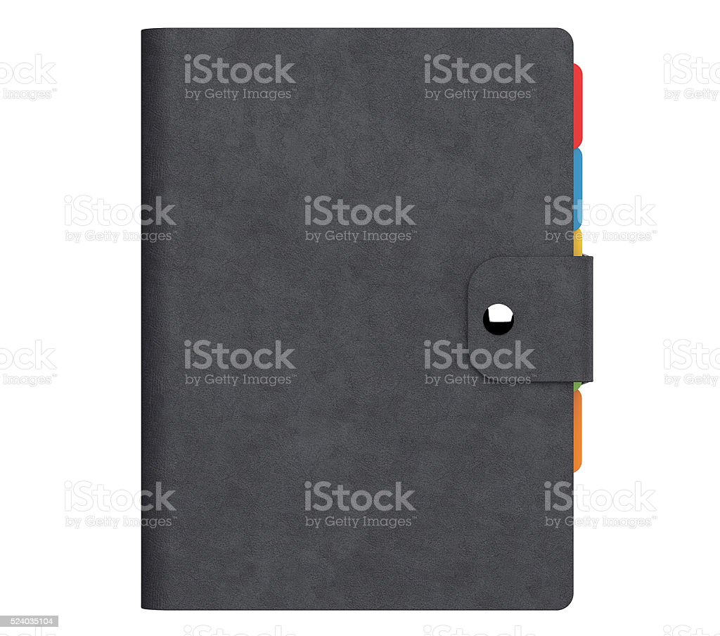 Personal Diary or Organiser Book with  Black Leather Cover. stock photo