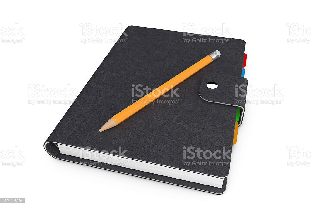 Personal Diary or Organiser Book with  Black Leather Cover stock photo