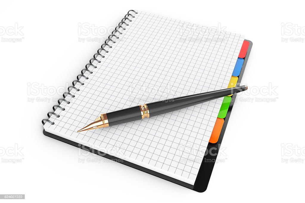 Personal Diary or Organiser Book with Blank Pages and Pen. stock photo