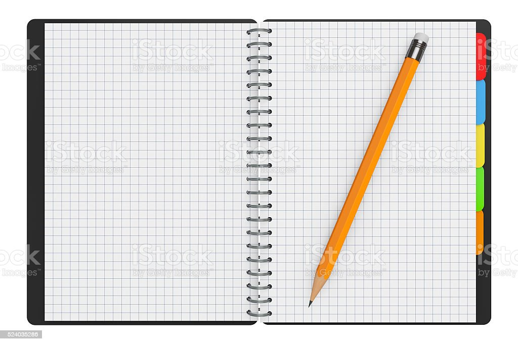 Personal Diary or Organiser Book with Blank Pages and Pencil. stock photo