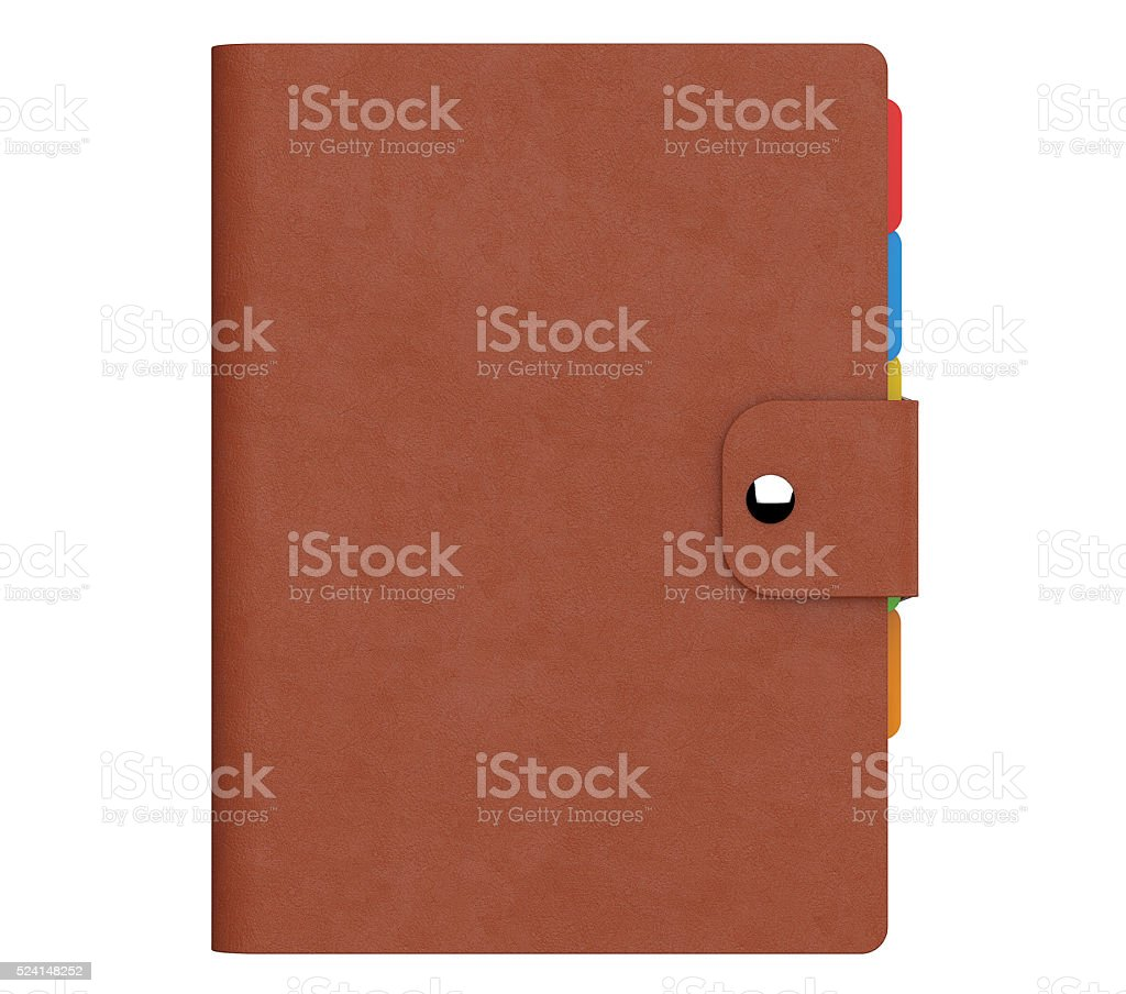 Personal Diary or Organiser Book with Brown Leather Cover stock photo