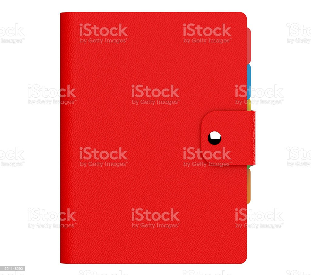 Personal Diary or Organiser Book with  Red Leather Cover. stock photo