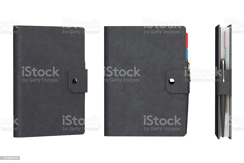 Personal Diary or Organiser Books with Leather Cover. stock photo