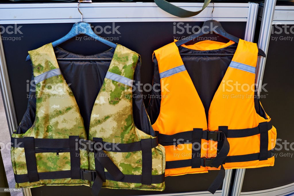 Personal flotation device as a life jacket in store stock photo