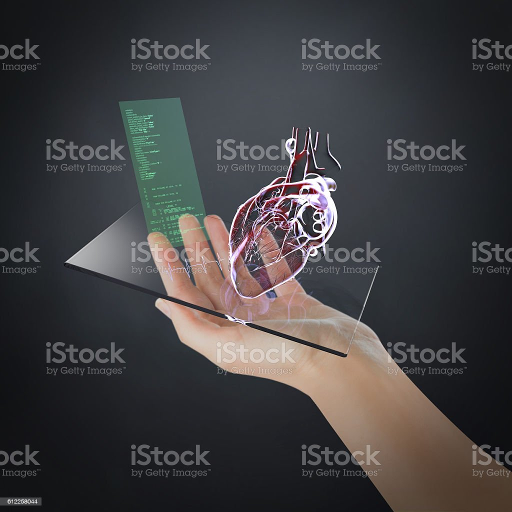 Personal Heart Health Control on Mobile Phone stock photo