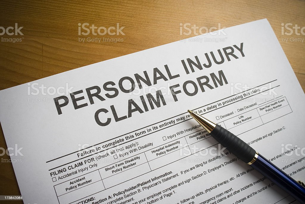 Personal Injury Claim Form royalty-free stock photo