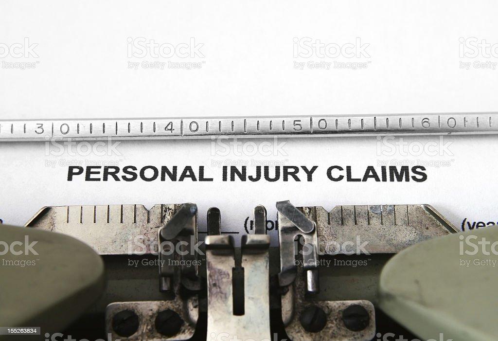 Personal injury claim royalty-free stock photo