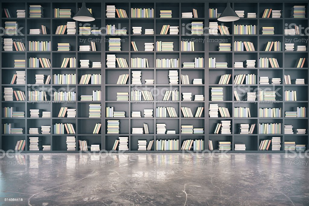 Personal library with big bookcase and concrete floor stock photo