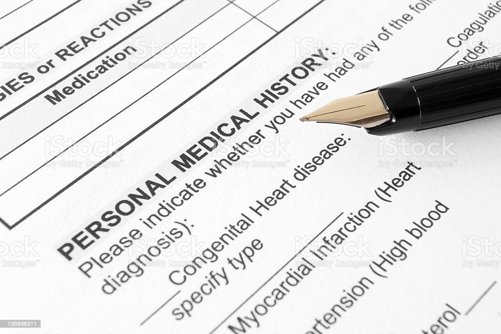 Personal Medical History form stock photo