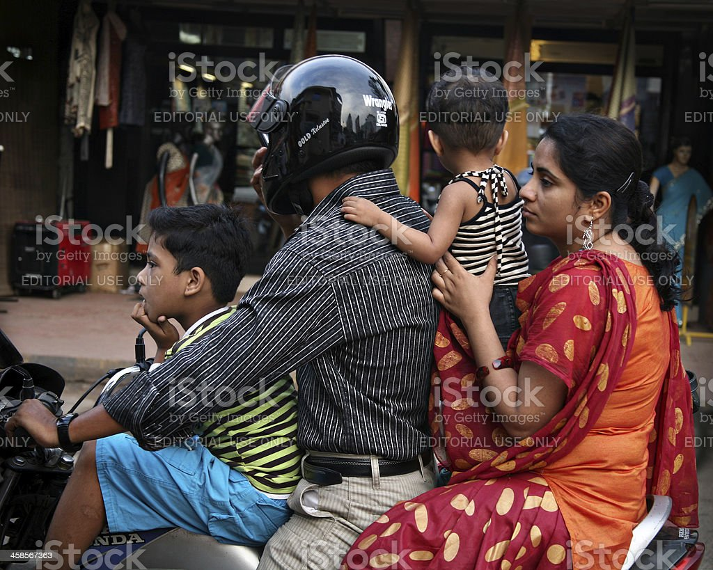 Personal motorbike transport in India. stock photo