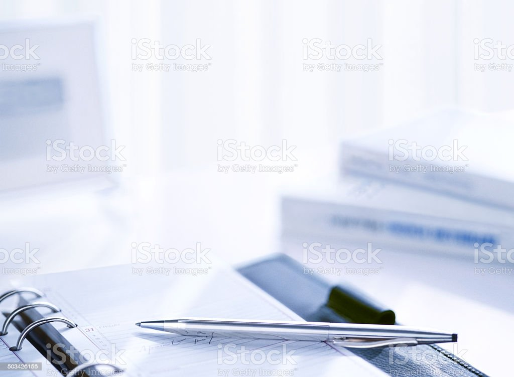 personal organizer and books stock photo