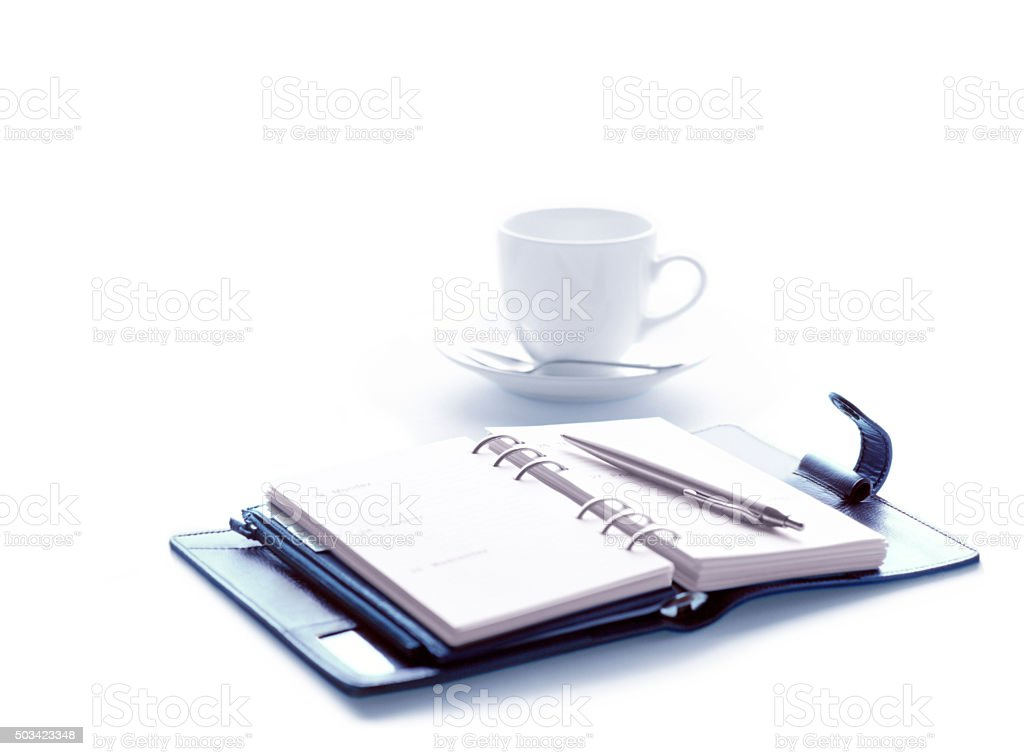 personal organizer and coffee stock photo