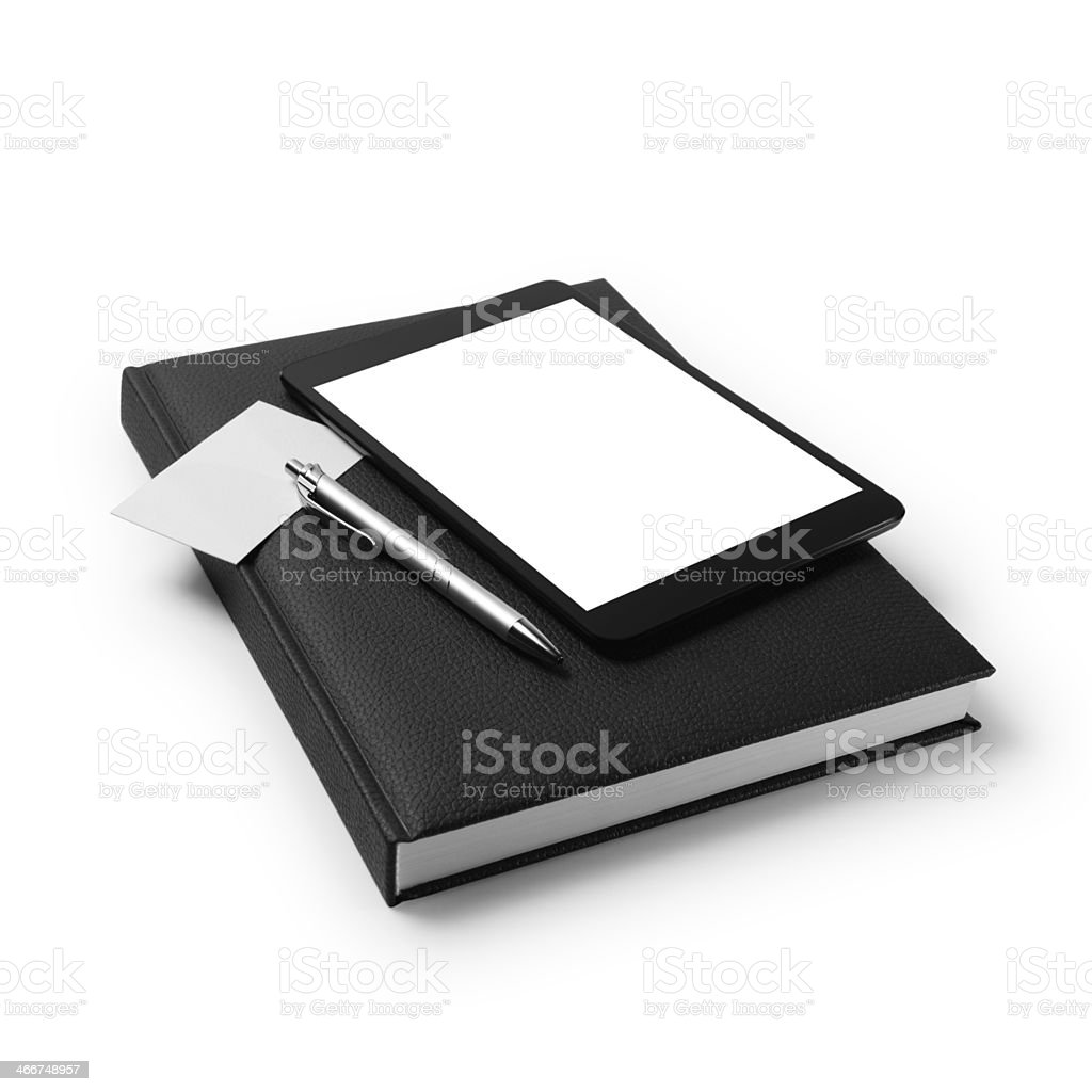 Personal organizer  and digital tablet pc stock photo