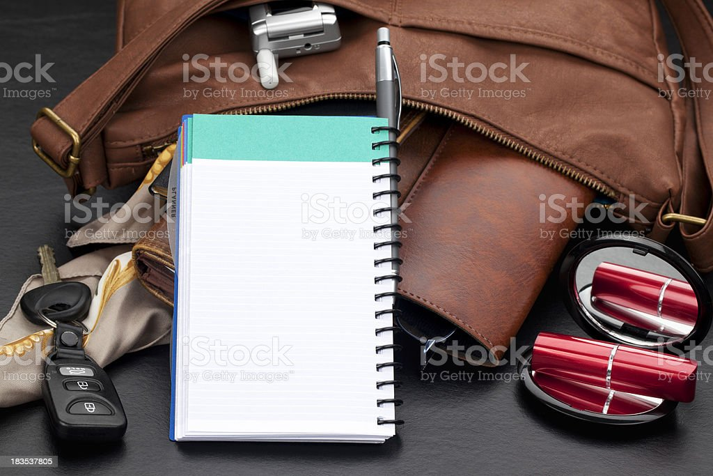 Personal Organizer with Leather Purse royalty-free stock photo