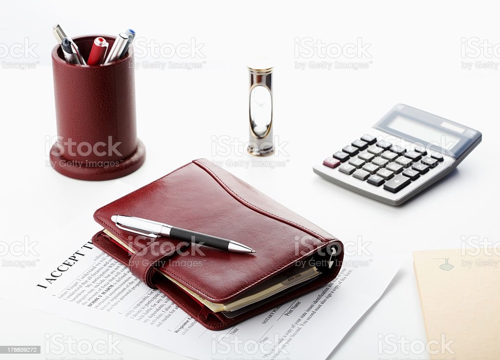 Personal organizer with pen royalty-free stock photo