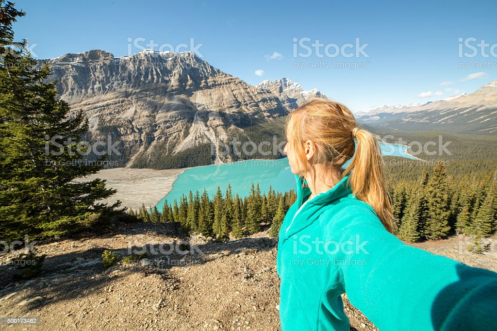 Personal perspective of hiker at view point stock photo